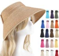 Playa de sombrero de sombrero superior de sombrero de sol de verano Protección solar Sombrero de paja plegable grande adulto padre-niño sombrero