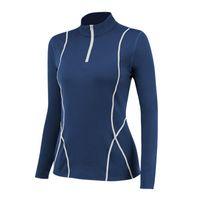 Women's T-Shirt T Shirts Stretch Fitness Running Slim Tshirt Top Half Zipper Stitching Stand Collar Long Sleeve Knit Saco