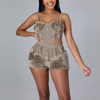 Women's Tracksuits Sexy Sets Womens Outfits Autumn Winter Spaghetti Strap Tops & Shorts Solid Sex Evening Night Club 2 Pieces Matching