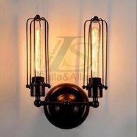 벽 램프 더블 팔 철 케이지 갓 높은 품질 아메리카 스타일 국가 홈 장식을위한 향수 빈티지 램프