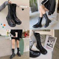 Boot Street s Martin Boots 2021 fall Korean version plus velvet retro British thick thin black boot shoes woman 0930