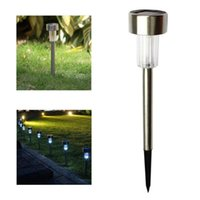 Solar Lamps 50pcs lot RGB   White Tube Light Lawn Lamp Stainless Steel Courtyard LED
