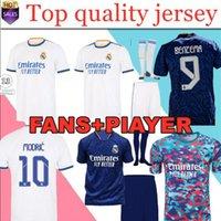 ريال مدريد الفانيلة 21 22 أعلى تايلاند مراوح المشجعين نسخة القمصان كرة القدم Mbapppe Alaba Hazard Casemiro Madric Amiseta Benzema Men + Kids Kit مجموعات 2021 2022