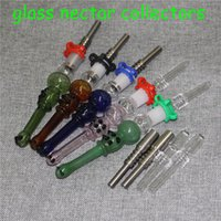 Glass Nectar Collector Kit with Quartz Metal Tips Smoking Hookahs Dab Straw Oil Rigs Silicone hand pipe