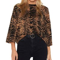 Vadim women elegant Leopard shirt Three Quarter o neck Loose...