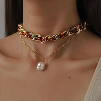 Chokers Amorcome Boho Rivet Red Velvet Leather Twisted Chain Necklace Dripping Oil Pearl Pendant Double Layered Collar Clavicle Jewelry