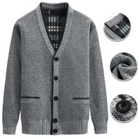 Men's Sweaters Autumn And Winter Thick Warm Cardigan Jacket Casual V-neck Button Sweater Big Pockets