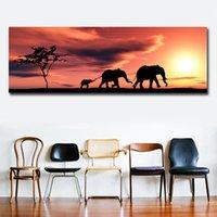 1 panneau coucher de soleil éléphant affiche picture peinture toile pour salon maison décor arts muraux