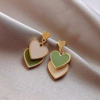 Dangle & Chandelier 2021 Fashion Jewelry Earrings Delicate Design Double Heart White Green Drop For Girl Student Party Gift