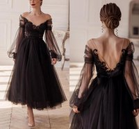 Black Tulle Short Prom Dresses Illusion O-Neck Long Puff Sleeves Applique Lace Homecoming Gowns Tea-Length Evening Party Dress