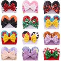 Baby Velvet Hair Belt Solid Color Hairpin child Sequin Glitter Big Bow Headbands Mouse Ear Wide Boutique Girl Hairs Accessories 9212