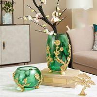 Vasen harz transparent vase golden retro chinesische stil linderung geschnitzte blume anordnung zubehör modern dekoration handwerk