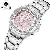 손목 시계 wwoor 브랜드 2021 핑크 숙녀 손목 시계 유명한 럭셔리 다이아몬드 선물 다이얼 데이트 시계 여성 스테인레스 스틸 여자 팔찌 시계