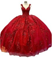 2022 Bling Dark Red Quinceanera Dresses Flowers Floral Applique Beaded Spaghetti Lace V-neck Corset Back Prom Sweet 16 Dress