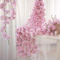 Flores decorativas grinaldas 200 cm seda rosa flor flor jardim jardim decoração de casamento hera videira 78 cabeças artificiais arco rattan pendurado parede