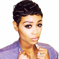 Short curly Wave Wigs For Women None lace front Pixie Cut Human Hair Wig Machine Made