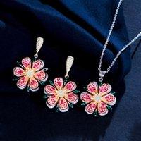 Pendientes Collar 3D Hoja Flor Rosa Rojo Cubic Zirconia Cristal Colgante Geométrico Colgante de moda Juego de joyería para mujeres T543
