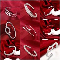 Bangle Pure Silver Bangles For Women Geometric Wide Wrist Bracelets & Pulseras Mujer European Style Jewelry Accessories Bijoux