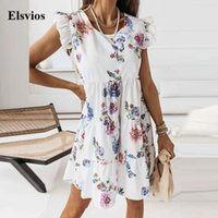 Casual Dresses Women Butterfly Sleeve Pleated Party Dress 2021 O Neck Office Lady Mini Beach Elegant Spring Summer Ruffle