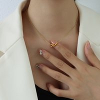Marka French Style Eternal Xo Cycle Bow Pendant Necklace Clavicle Chain Steel 18k Gold P432 X5SV719
