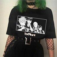 Kawaii Haikyuu T Gömlek Erkekler Komik Yaz Tops Karikatür Grafik Tees Harajuku Unisex Anime Sıcak T-shirt Erkek X0621
