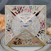 50 unids brillo papel hueco flores láser corte invitación tarjetas de visita tarjetas de visita imprimible personalizado decoración de la boda