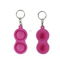Fidget Simple Dimple Brinquedo Descompressão Keychain Azul Rosa Verde Pingente Rodente Pioneer Silicone Descompactação Silica Gel Premium HWF5569