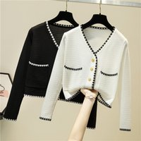 Women's Sweaters White with low-necked woman's short sweater autumn winter pocket long sleeve mesh button women's cardigans woman pull femme TE17