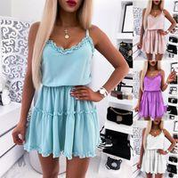 Casual Dresses Summer V-Neck Sleeveless Dress Party Women Elegant Loose Mini Ladies Solid Color Short Pleated Vestidos