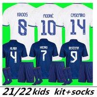Mbappé Kit Kit Real Madrid Jerseys 21 22 Fußball Fussball Hemden Alaba Gefahren Benzem MODRIC Kroos Vini JR Casemiro Camiseta Männer Kinder Socken Full Sets 2021 2022