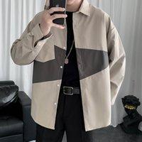 2021 Koszule Stil Patchwork Erkekler Uzun Kollu Sonbahar Yeni Erkek Takım Gömlek Düğme Yukarı Gömlek Chemise Homme Man X700