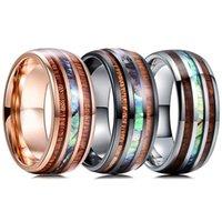 結婚指輪8mmメンズブラックローズゴールドタングステンカーバイドハワイアンコアウッドとアバロンシェルオパールインレイリングバンドジュエリー
