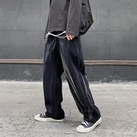 2021 New Harajuku Tie Dye Lavado De Brim Dos Homens Streetwear Retro em Linha Reta Baggy Hip Hop Casual Jean 1i28