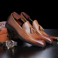 Knit dress shoes slip on men large size loafer shoes braid boat shoe with tassel England style zy4432