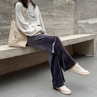 Donne Eleganti Pantaloni Neri Lace Up Elastico Vita Streetwear 2020 Autunno Inverno Casual Pantaloni a figura intera Pantaloni oro Pantalones oro Pantalones X0131