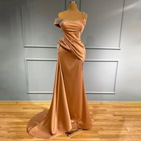 Charming Plus Size One Shoulder Mermaid Prom Dresses Satin Beaded Sequined Floor Length Evening Gowns For Women Special Occassion robe de soiree