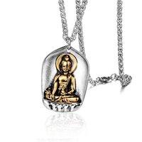 قلادة القلائد فاسق الفولاذ المقاوم للصدأ بوذا قلادة ساكياموني للرجال مجوهرات البوذية الذهب والفضة اللون