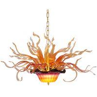 زهرة قلادة الأنوار متعددة الملونة الفن اليد في مهب الزجاج الثريا الإضاءة تركيبات غرفة المعيشة ديكور المنزل