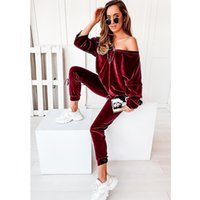 Woman Golden Velvet Tracksuits New Fashion Loose V-neck Tops Trousers Casual Outfits Designer Female Winter Velvets Pajama Two Piece Sets