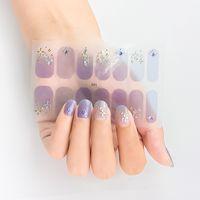 16 posti / 1 foglio Adesivi per unghie per unghie Adesivi UV Gel Polish Polish Wail Wraps Strips Cover Full Colourful Nail Polidy Sticker Adesivi Decalcomanie Manicure Tool