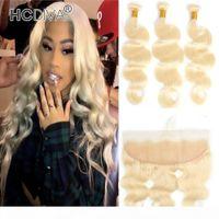 613 блондинки человеческие пакеты волос с кружевом лобовое ухо до уха перуанские волосы девственницы 3шт с фронтальным закрытием прямой волна тела глубокий