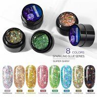 Nail Gel GUOXI Colourful Explosion Shining Diamond Glue 5ml Model UV Crystal Extension Fast-drying Lasting Polish