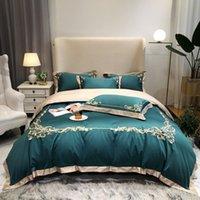 Set di biancheria da letto floreale ricamato verde grigio copripiumino set set di lusso consoliera lenzuolo foglio pillow shams queen king size 4pcs