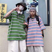 Women's T-Shirt Harajuku Couple T Shirt Oversized Tees Summer Female Striped Tops O-Neck Short Sleeve Ladies Mens Tshirts Casual