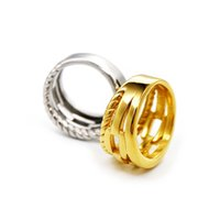 Fashion Simple Silver Gold Band Ring For Women Stainless Steel 3 Hoop Knotted Rings Woman Unique Personalized Hiphop Father Day Jewelry Wholesale With Box