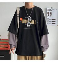 Women's T-Shirt Fake Two-piece Long-sleeved Women Tshirt Men Autumn Korean Loose Letter Printing Student Jacket Couple Outfit Punk
