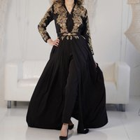 Chic Jumpsuit Black Evening Dresses With Gold Lace V Neck Long Sleeve Arabic Muslim Prom Dress 2022 Speical Occassion Party Gowns Gothic Robe De Mariée