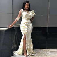 Aso Ebi Mermaid Evening Dresses Three Quarter Sleeves Side Split Prom For Black Girls Bow Lace Celebrity Party Gowns