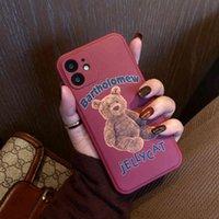 Brown bear for Apple 12 mobile phone case new 11pro cute Max wine red xsiphone case 7   8plus personality x female XR fashion Mini allXLDG