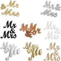 Винтажный дизайн английские буквы MRMRS деревянные свадебные фона украшения блестящие золотые серебряные присутствующие таблицы центральный декор 1 набор